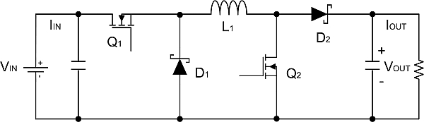 Four-switch buck-boost converter in buck or boost mode delivers the ...