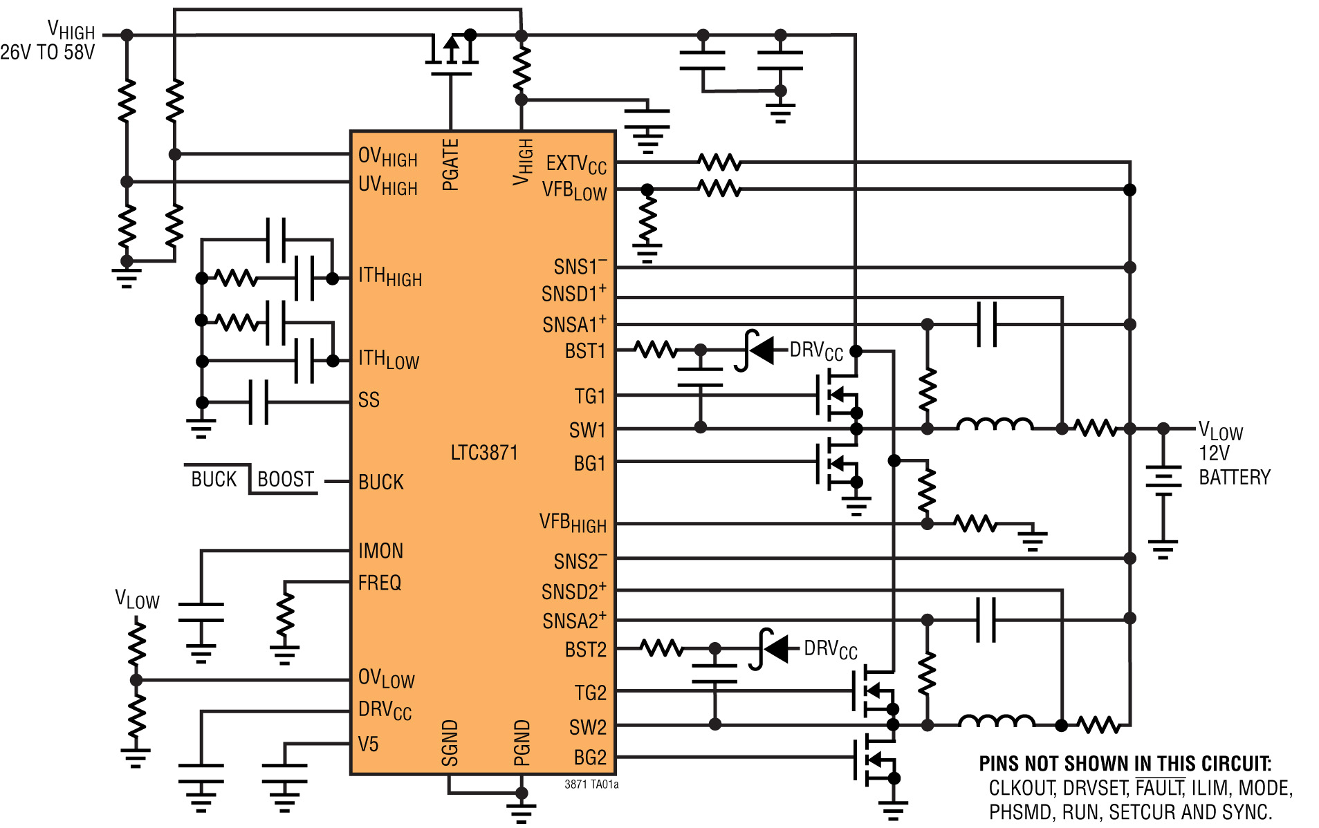 48v 12v Dual Battery Automotive Systems Require Bi Directional Dc P Channel Mosfet Circuit Diagram Figure 1 Ltc3871 Bidirectional Schematic Output From A 26v To 58v Input Delivering 30a Of Current
