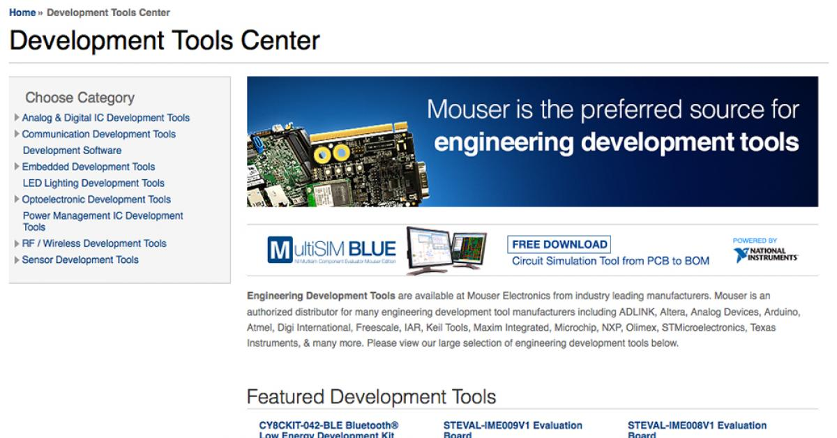 Distributor Mouser puts Development Tools Centre online