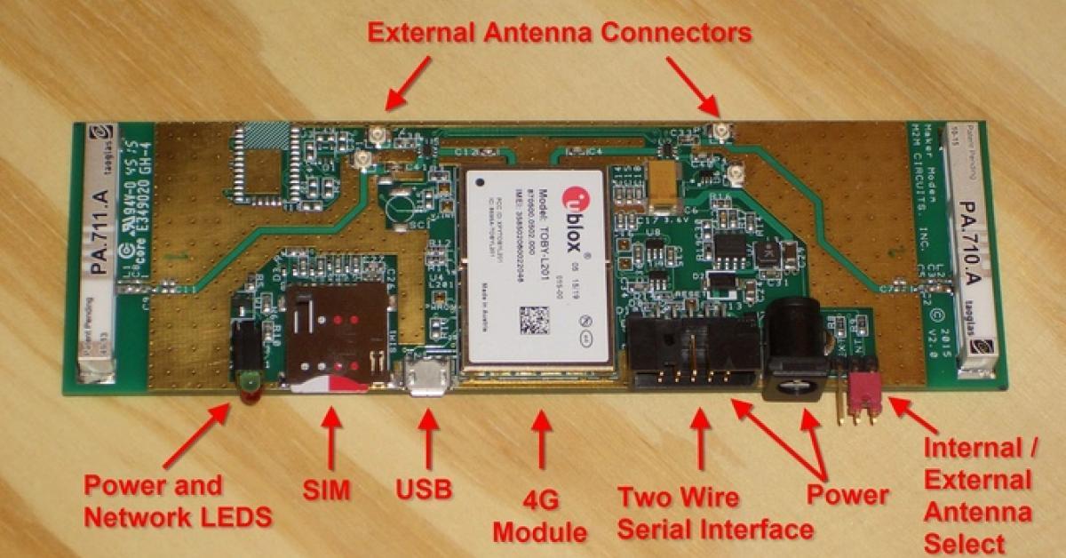 4G LTE 'maker' M2M modem project hosts u-blox module