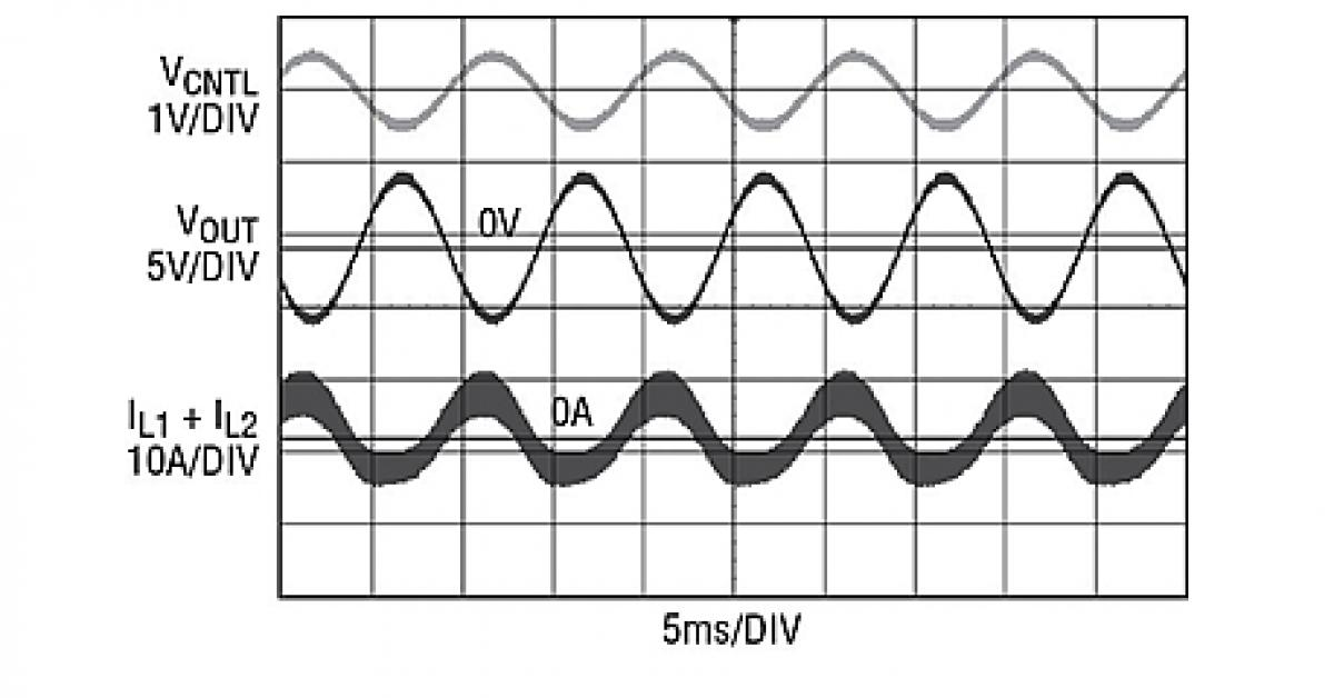 four dc switching regulator smoothly transitions from positive to negative output