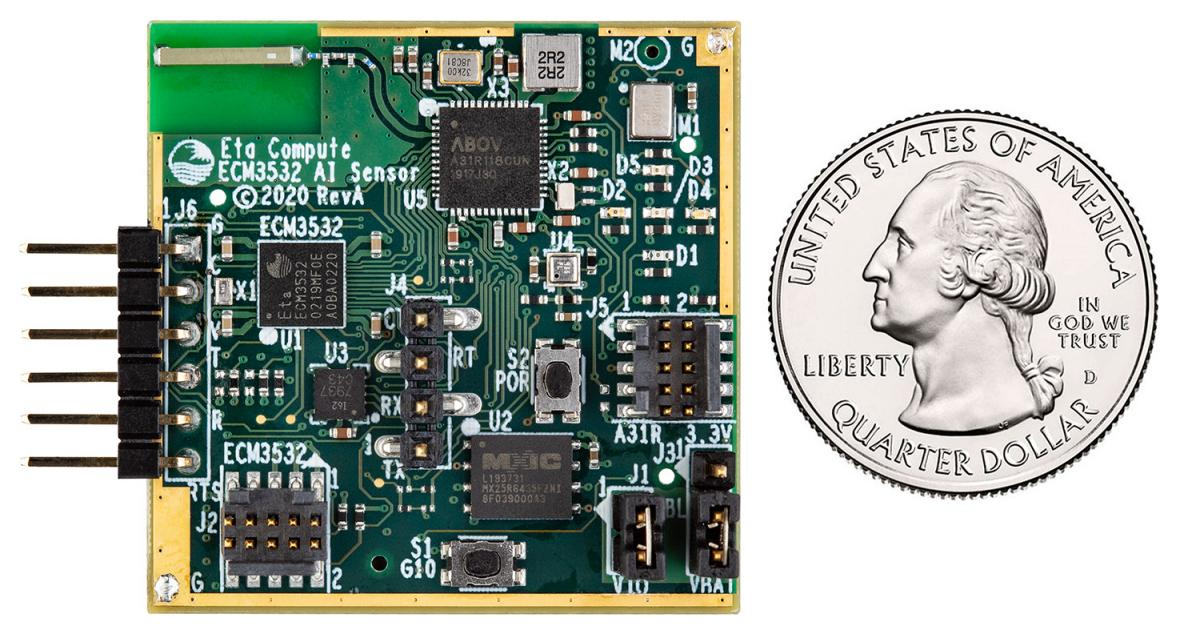 The board was developed to cut the initial phase of smart sensor development through its TENSAI SoC. The low power ECM3532 AI Sensor Board contains al
