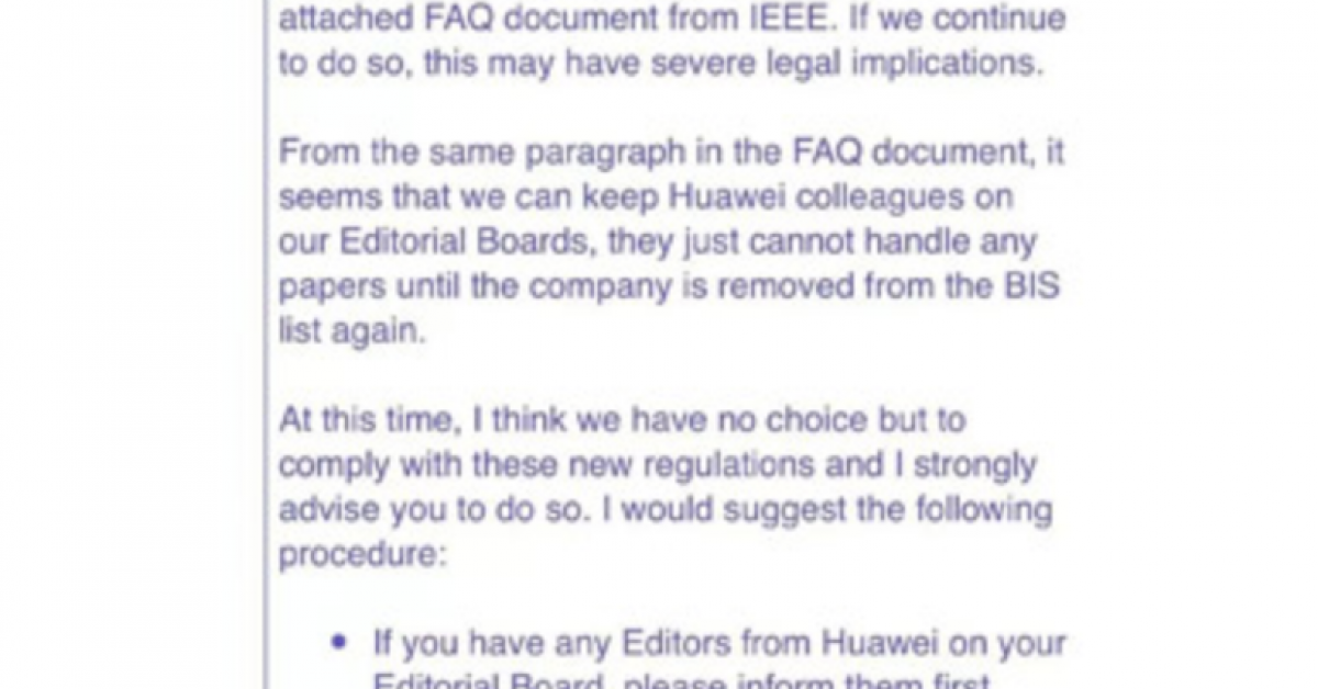 Peer-reviews from Huawei banned by IEEE