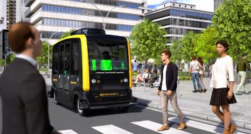Robo Taxi demos how people and vehicle can talk to each other