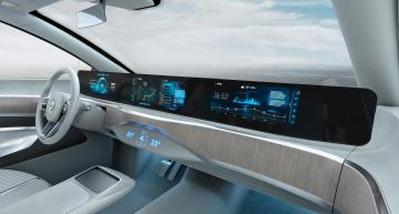 Integrated screen solution spans the entire cockpit width