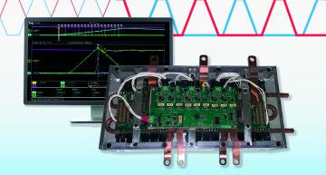 Double pulse test data of the AI-driven CleanWave 200kW inverter reference design developed by Pre-Switch shows a reduction in switching losses of 90 percent