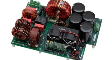A 4 kW AC-DC bridgeless totem pole power factor correction (PFC) evaluation board using Transphorm's GaN transistor and Microchip DSP has a 99 per cent efficiency