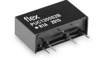 The Flex PUC-2B dual channel 2W isolated DC-DC converter in a SIP7 package