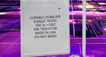 The PPC Series of ultra-thin polymer aluminum electrolytic capacitors from Cornell Dubilier is available from 8,000µF to 20,000µF with working voltages ranging from 6.3 to 24 VDC.