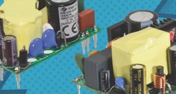 Chassis and board mounted AC-DC converter families from CUI include a power boost feature for drives and pumps