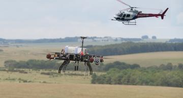 First UK trial of helicopter and drone working together