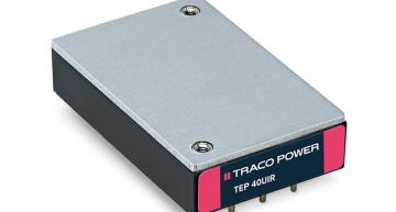 "The TEP 40UIR and TEP 60UIR railway DC-DC converter series from Traco Power have a 12:1 input and are housed in a compact quarter brick (2.3""x1.45""x0.5"") metal package."