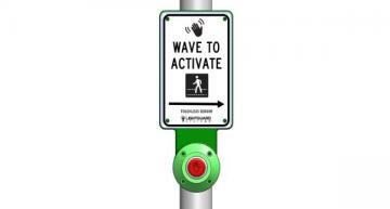 Touchless pedestrian crosswalk sensor button reduces virus spread