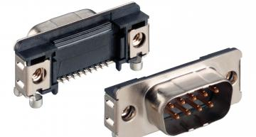 Compact angled SMT D-Sub connector for industrial applications