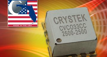 Crystek CVCO33CC-2500-2500 VCO features high linearity, low phase noise