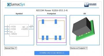 Recom, Samacsys team for power converter EDA models