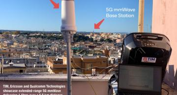 TIM, Ericsson and Qualcomm Technologies showcase extended-range 5G mmWave delivering 1 Gbps over a 6.5 km distance in urban Italy.