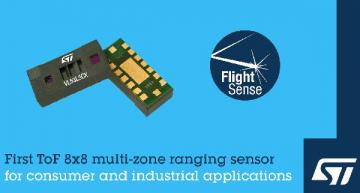 ToF 8x8 multi-zone ranging sensor for consumer, industrial apps