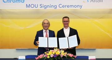Digital twins developed for electric vehicle propulsion testing systems. Leo Huang, Chairman & CEO of Chroma (L) and Brett Chouinard, President & COO of Altair (R) signed the strategic cooperation MOU on July 16th, 2019.