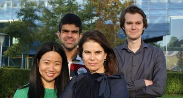 The 'Hafnia team' within the Nanostructures of Functional Oxides group, Zernike Institute for Advanced Materials, University of Groningen. From left to right: Yingfen Wei, Pavan Nukala, Beatriz Noheda, and Mart Salverda.  CREDIT Henk Bonder, University of Groningen