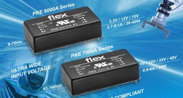 Wide input DC-DC power modules for industrial and railway designs in sealed and encapsulated packaging.