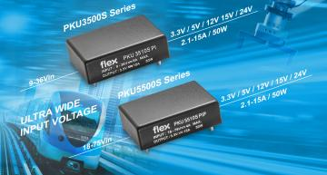 Flex encapsulated sixteenth-brick DC-DC converters for industrial and railway designs