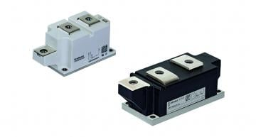 The 50mm and 60mm PrimeBlock thyristor modules from Infineon Technologies Bipolar avoid parallel designs in industrial AC and DC drives and uninterruptible power supplies (UPS)