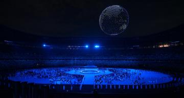 Drone lightshow highlights Olympic technologies