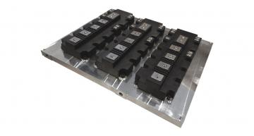 Low profile cooling plate for power electronics