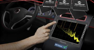 Microchip has launched three new maXTouch touchscreen controllers that address EMI and EMC challenges faced when integrating automotive touchscreens.