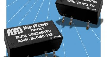 The 1W ML100E DC-DC converter family from Micropower Direct is in a miniature surface mount (SMT) package