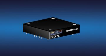 Recom's RBBA3000 buck-boost, non-isolated, DC-DC converter features a maximum of 3kW of output power rating in a industry-standard half brick baseplate-cooled package