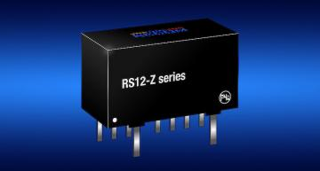 Recom's RS12-Z DC-DC converter with a 4:1 input uses a planar transformer to fit a 12W output into a SIP8 package