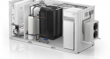 First liquid cooling for all-in-one modular datacentre
