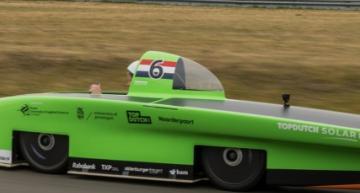 The Dutch Green Lightning solar car in the 2019 Bridgestone World Solar Challenge (BWSC) in Australia.
