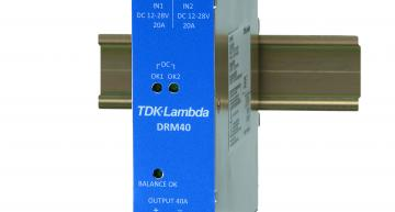 RS Components is stocking the DRM40 and DRM40B series of N+1 redundant DIN rail power supply power modules from TDK-Lambda.