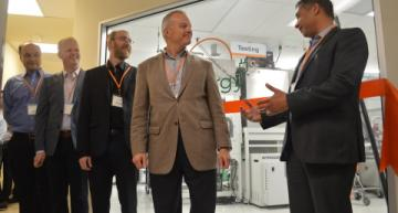 At the opening of the transparent solar panel pilot line, from left to right: Ubiquitous Energy co-founders Vladmir Bulovic, Miles Barr, Richard Lunt, Ubiquitous Energy CEO Keith Wilson, Redwood City Mayor Ian Bain