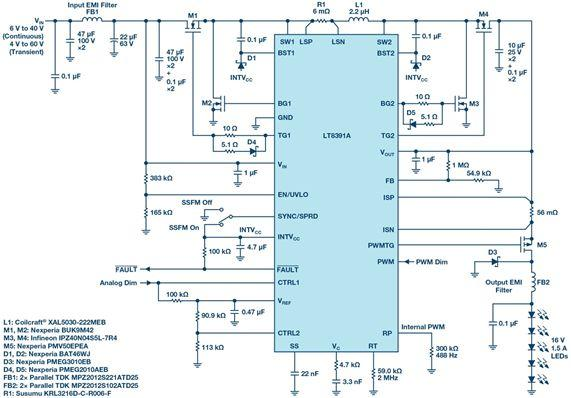 Single 2 MHz Buck-Boost Controller Drives Entire LED Headlight Cluster, Meets CISPR 25 Class 5 EMI