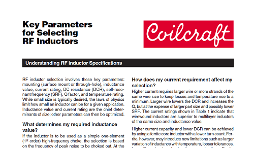 Parameters for Selecting  RF Inductors