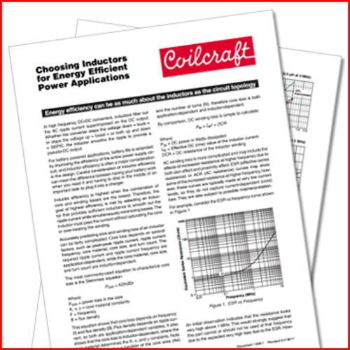 Coilcraft: Choosing Inductors for Energy Efficient Power Applications