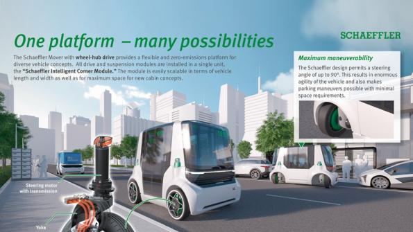 Vehicle concept combines wheel hub drive with 90-degree steering