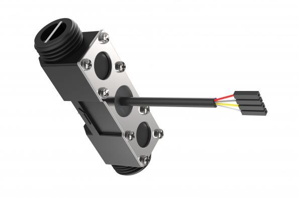Ultrasonic sensor monitors liquid flow rate
