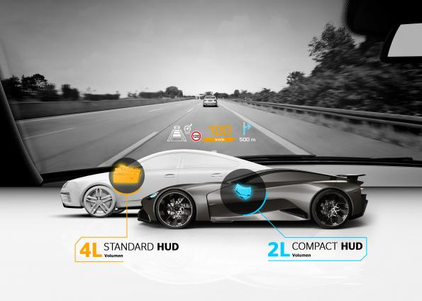 Compact head-up display specially designed for sports cars