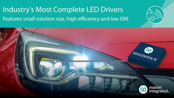 Compact LED drivers deliver 90% efficiency, pass CISPR 25 EMI specs