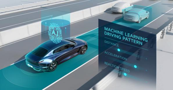 Driver assistance system controls speed using artificial intelligence