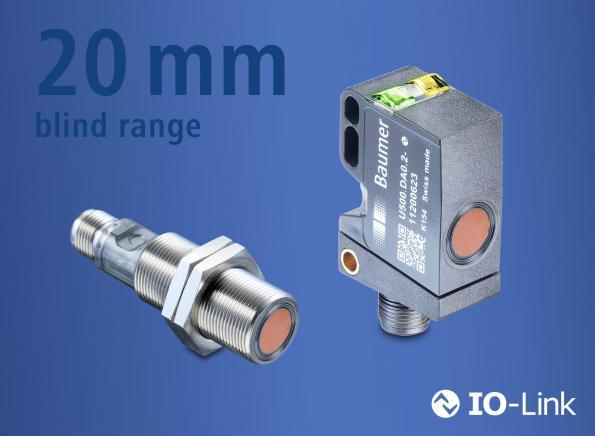 Ultrasonic sensors combine long range with short blind range
