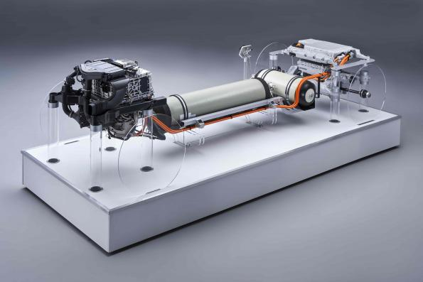 BMW has shown a fuel cell-based powertrain concept for a hydrogen car.
