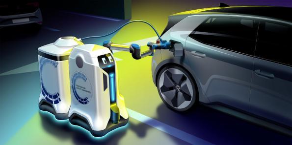 Volkswagen presents mobile charging robot
