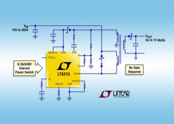 15W, high-voltage flyback regulator does it without opto