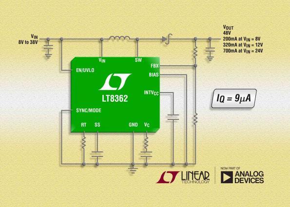 DC/DC converter offers high efficiency, wide input voltage range